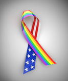 USA and rainbow ribbon Stock Photo