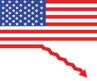 USA in recession. USA flag as a sign of recession Stock Image