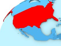 USA on blue globe. USA in red on blue model of political globe. 3D illustration Royalty Free Stock Images