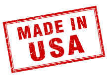Usa red square grunge stamp. Usa red square grunge made in stamp Royalty Free Stock Photography