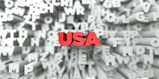 USA -  Red text on typography background - 3D rendered royalty free stock image Royalty Free Stock Photography