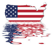 USA Reflection - US Flag. USA Map - US Flag - National Symbol Of The United States Of America With Reflection Royalty Free Illustration