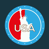 USA retro label. Vintage illustration liberty statue Royalty Free Stock Image