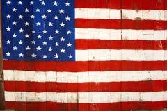 USA-Retro- Markierungsfahnenanstrich auf Holz lizenzfreie stockbilder