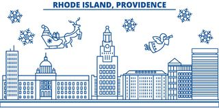 USA, Rhode Island , Providence winter city skyline. Merry Christmas and Happy New Year decorated banner.Winter greeting Royalty Free Stock Photo