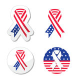 USA ribbon flag - symbol of patriotism, the victims and heros of the 9/11 attacks. American flag ribbons set isolated on white - Independance day, support for vector illustration