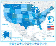 USA Road Map in colors of blue and map pointers Royalty Free Stock Images