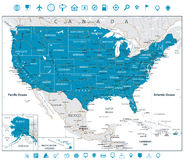 USA Road Map and line navigation icons Stock Photo