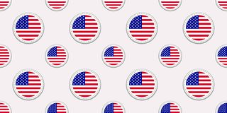 USA round flag seamless pattern. American background. Vector circle icons. The United States of America symbols. Texture for Engli vector illustration