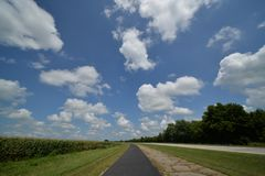USA route 66 on the road. Cloud and wide country royalty free stock image