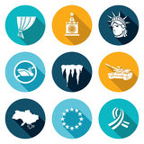 USA Russia conflict Icons Set. Vector Illustration Royalty Free Stock Images