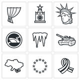 USA Russia conflict icons. Vector Illustration Royalty Free Stock Photo
