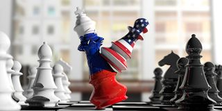 USA and Russia fight. US America chess pawn hits Russia chess king. 3d illustration. USA and Russia relations. US America chess pawn hits Russia chess king on a Royalty Free Stock Photography