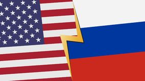 Usa and Russia financial, diplomatic crisis concept. Usa and Russia flag with lightning icon design Royalty Free Stock Photography