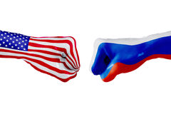 USA and Russia flag. Concept fight, business competition, conflict or sporting events Royalty Free Stock Photography
