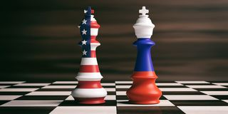 USA and Russia flags on chess kings. 3d illustration. USA and Russia cooperation concept, US America and Russia flags on chess kings on a chess board, brown Stock Photo