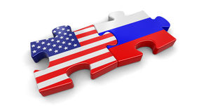 USA and Russia puzzle from flags Royalty Free Stock Photography