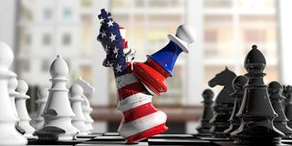 USA and Russia relations. Russia chess pawn hits US America chess king. 3d illustration. USA and Russia relations. Russia chess pawn hits US America chess king Royalty Free Stock Photo