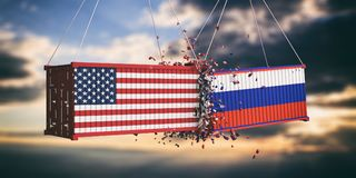 USA and Russia trade war. US of America and Russian flags crashed containers on sky at sunset background. 3d illustration Royalty Free Stock Photo