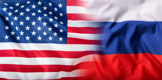USA and Russia. Usa flag and Russia flag Royalty Free Stock Photo