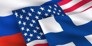 USA, Russian Federation, Finland flags. Waving National flags of USA, Russian Federation and Finland. Banner for First formal summit between the two world Stock Photos