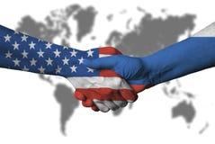 Usa and Russian flag across handshake. Stock Photography