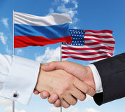 USA and Russian handshake Stock Photography