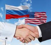 USA and Russian handshake Stock Photography