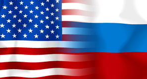 USA-Russland Markierungsfahne Lizenzfreies Stockfoto