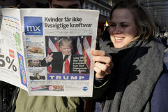 USA`S PRESIDENET ELECT DONALD TRUMP AND PRINT WORLD MEDIA. Copenhagen / Denmark_ 10th. November 2016 _ United States ` president elect Donal Trumps on cover stock photos