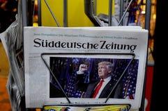 USA`S PRESIDENET ELECT DONALD TRUMP AND PRINT WORLD MEDIA. Copenhagen / Denmark_ 10th. November 2016 _ United States ` president elect Donal Trumps on cover stock image