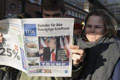 USA`S PRESIDENET ELECT DONALD TRUMP AND PRINT WORLD MEDIA. Copenhagen / Denmark_ 10th. November 2016 _ United States ` president elect Donal Trumps on cover royalty free stock image
