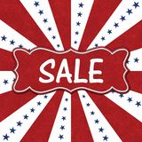 USA Sale message with blue stars with red and white burst lines stock image