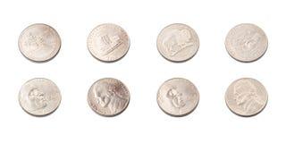 USA samling för fem centmynt Arkivbild