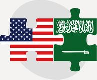 USA and Saudi Arabia Flags in puzzle Stock Images