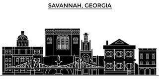Usa, Savannah, Georgia architecture vector city skyline vector illustration