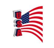 USA-Schrifttypmarkierungsfahne Lizenzfreie Stockfotografie