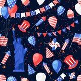 USA seamless navy pattern. Vector print background. American national symbols, celebration Independence Day.  vector illustration