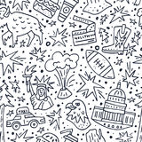 USA seamless pattern. Seamless pattern with symbols of United States of America. USA vector texture Royalty Free Stock Photography