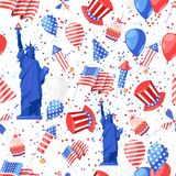 USA seamless pattern. Vector print background. American national symbols, celebration Independence Day.  Stock Image