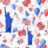 USA seamless pattern. Vector print background. American national symbols, celebration Independence Day.  Vector Illustration
