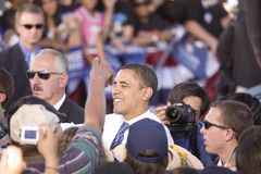 USA Senatora Barack Obama potrząsalne ręki Obrazy Royalty Free