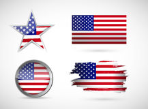 Usa set of different flags. illustration design Stock Images