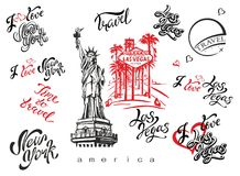 USA. Set of elements for design. Las Vegas. New york. Landmark sketches . Statue of liberty. Inspiring lettering. Templates of rea stock illustration