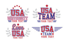 USA Set. Retro Labels College Style USA Set Royalty Free Stock Image