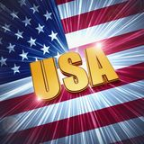 USA with shining american flag Stock Photos