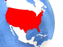 USA on shiny globe with water. USA on globe with realistic blue water and shiny metallic continents. 3D illustration Stock Photos