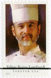 USA - 2014: shower Felipe Rojas-Lombardi 1945-1991, kock, författare och televisionpersonlighet, seriekändiskockar Arkivbild