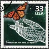 USA - 2000: shower räcker, och fjärilen, dator frambragd konst, serie firar århundradet, 90-tal Royaltyfria Foton