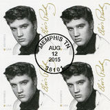 USA - 2015: Shows Elvis Presley 1935-1977, der Sänger, Gitarrist, Musiker, Musik-Ikonen-Reihe Lizenzfreie Stockfotos